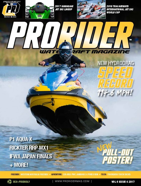Hydrodrag speed record breaker Uva Perez to be featured on the cover of the 2017 January/February print and digital issue of Pro Rider Watercraft Magazine!