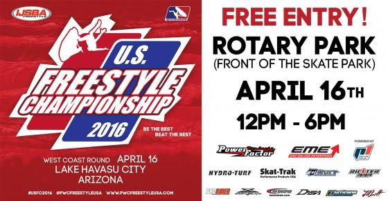 Press Release: official schedule of West Coast Round of 2016 IJSBA U.S. Freestyle Championship / April 16th / Lake Havasu City, Arizona